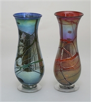 Footed Lustre Tear Drop Vases