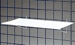 "<!01>Gridwall Flat Metal Shelf White 23""W x 12""D"