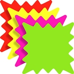 "<!22>Fluorescent Burst Square Cards 5"" x 5"" Qty of 100"