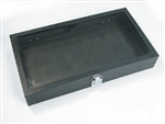 "Display Tray with Glass Lid Black 14.75""W x 8.75""L x 2""H"