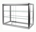 "Aluminum Display Case, Two shelves, lock 24""w x 12""d x 18""h"