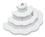 "4 Tier 29 Ring Display White Leatherette 11.25""W x 5.875""L x 5.125""H"