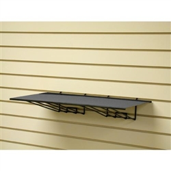 "<!02>Slatwall Flat Metal Shelf Black 23""W x 12""D"