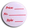 "<!06>White with Red Type Round Label 1"" Dia Qty of 500"