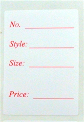 "<!05>White with Red Type Rectangle Label 1.125""x 1.625"" Qty of 500"