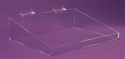 "<!04>Acrylic Slatwall Low Front Tray Clear 6""x18'x9"", 4"" Front"
