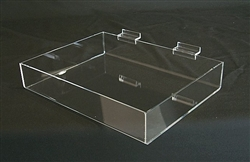 "<!05>Acrylic Slatwall Display Tray Clear 16""x8""x2"""