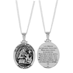 St. Francis Oval Medallion Silver Plated Necklace