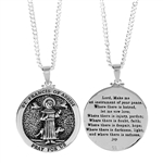 St. Francis Round Medallion Silver Plated Necklace
