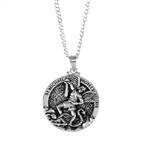 St. Michael Round Medallion Silver Plated Necklace