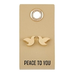 Peace to You Dove Stud Earrings on Leather Tag