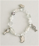 First Communion Prayer Story White Beaded Bracelet