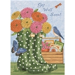 Floral Mason Jar (Thinking of You - Get Well)