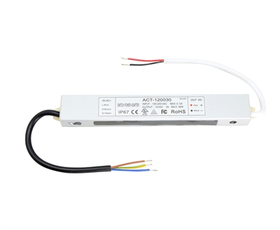 12V 36W (3A) UL-Listed, Waterproof LED Driver for 12VDC Low Voltage LED Strip Lighting, LED Puck Lights, LED Bars. Hardwired connection for LED up to 36W.