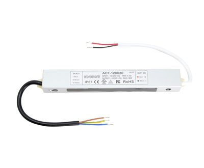 24V 36W (3A) UL-Listed, Waterproof LED Driver for 24VDC Low Voltage LED Strip Lighting, LED Puck Lights, LED Bars. Hardwired connection for LED up to 36W.