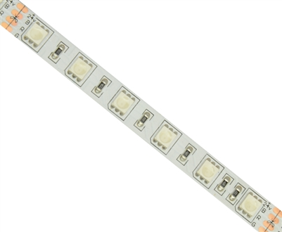 Commercial (Architectural) Grade Color Changing RGB LED Strip. Med Density (60/M), High Output (3 Watts/foot), 16ft Roll, 5050 RGB Chip. Use in cove lighting, cabinet lighting, holiday lighting, hospitality lighting.
