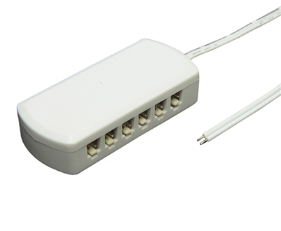 Power distribution system for low voltage LED luminaries. Connect up to (6) LED luminaries to one terminal block to achieve clean, code-compliant installations.