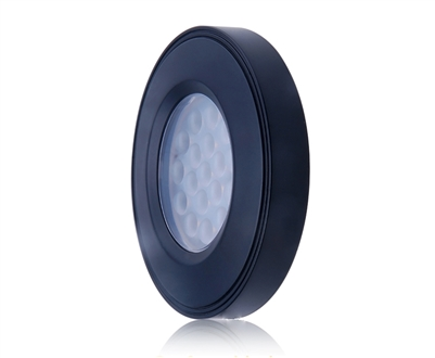 "2"" 12VDC under cabinet, inside cabinet, and over cabinet LED puck lighting. LED puck light surface mounted for LED cabinet lighting with a black trim."