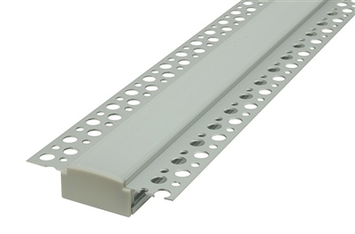 LED aluminum channel trimless recessable for clean drywall installation, modern seamless creative LED lighting for houses rooms, edge lighting, medium output, railway lighting, Plaster in channels with plaster bead. Seamless installation