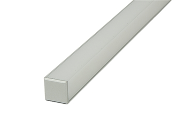 Compact, slim, 1/2 inch thick 45 degree Aluminum channel L with squared lens for commercial LED strips. Use in showcases, display cases, restaurants, linear hospitality LED strip, tape lighting.