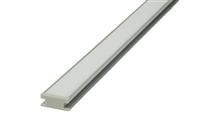 Aluminum Profile M for recess, flush mounting linear LED strip lighting, in tiled walls. LED Aluminum extrusion for flush recessed wall mounting in tiled walls. LED Aluminum Housing for commercial LED strips, linear tape LED lighting.