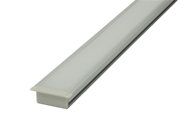 LED Aluminum Channel, housing N for flush, recess mounting into tiled floor. In floor, in tile floor linear LED strip lighting using Commercial Grade LED strips and tape light. Use in bathrooms and kitchens recess and install flush to tile flooring.