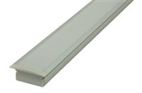 Recessed LED Aluminum Channel extrusion O3R, slim low profile design for linear cabinet LED lighting, restaurant and hospitality LED strip lighting. OR used with bright LED strips for discrete low to medium output lighting. Flush recessed