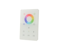 Glass Touch Panel DMX Controller for RGB and RGBW LED Strip Lighting. Controls a single zone of LED lighting. Installs easily into US wall box.