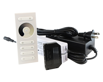 Plug-and-play kit to make your cabinet LED lighting dimmable. Power supply, RF wireless remote, and RF wireless receiver all included. Connect up to 12 Cabinet LED Bars to one dimmer kit. Program multiple scenes