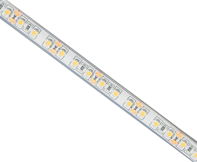 Commercial (Architectural) Grade LED Strip. 3528 LED chips, High Density 120 LEDs/M, Waterproof Grade (IP68) in a 16 foot roll. Use inside of Aluminum housings to build a professional linear LED fixture. Top-Quality LED Strips for maximum lifetime.