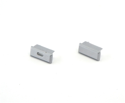 Extra pair of end caps for aluminum profile, housing, extrusion for LED Strips type A. Includes one power-feed end-cap and one closed end-cap. Finished to match aluminum extrusion, housing finish finish.