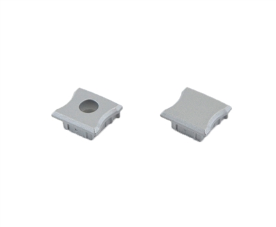 Extra pair of end caps for aluminum profile, housing, extrusion for LED Strips type B2. Includes one power-feed end-cap and one closed end-cap. Finished to match aluminum extrusion, housing finish finish.