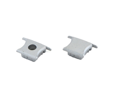 Extra pair of end caps for aluminum profile, housing, extrusion for LED Strips type D. Includes one power-feed end-cap and one closed end-cap. Finished to match aluminum extrusion, housing finish finish.