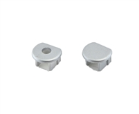 Extra pair of end caps for aluminum profile, housing, extrusion for LED Strips type G. Includes one power-feed end-cap and one closed end-cap. Finished to match aluminum extrusion, housing finish finish.