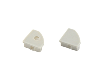 Extra pair of end caps for aluminum profile, housing, extrusion for LED Strips type H2. Includes one power-feed end-cap and one closed end-cap. Finished to match aluminum extrusion, housing finish finish.