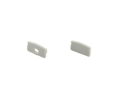 Extra pair of end caps for aluminum profile, housing, extrusion for LED Strips type J. Includes one power-feed end-cap and one closed end-cap. Finished to match aluminum extrusion, housing finish finish.