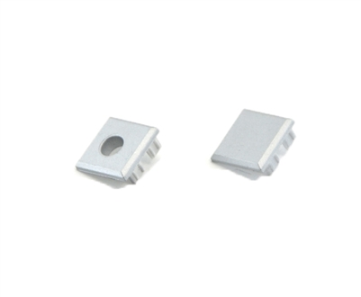 Extra pair of end caps for aluminum profile, housing, extrusion for LED Strips type L. Includes one power-feed end-cap and one closed end-cap. Finished to match aluminum extrusion, housing finish finish.
