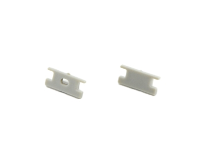 Extra pair of end caps for aluminum profile, housing, extrusion for LED Strips type M. Includes one power-feed end-cap and one closed end-cap. Finished to match aluminum extrusion, housing finish finish.