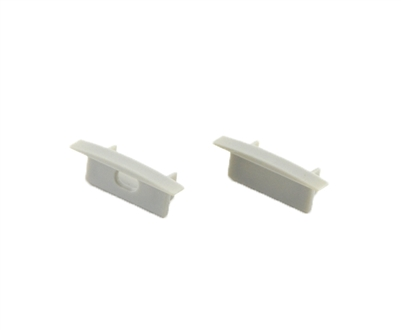 Extra pair of end caps for aluminum profile, housing, extrusion for LED Strips type N. Includes one power-feed end-cap and one closed end-cap. Finished to match aluminum extrusion, housing finish finish.