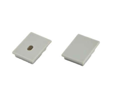 Extra pair of end caps for aluminum profile, housing, extrusion for LED Strips type N2. Includes one power-feed end-cap and one closed end-cap. Finished to match aluminum extrusion, housing finish finish.