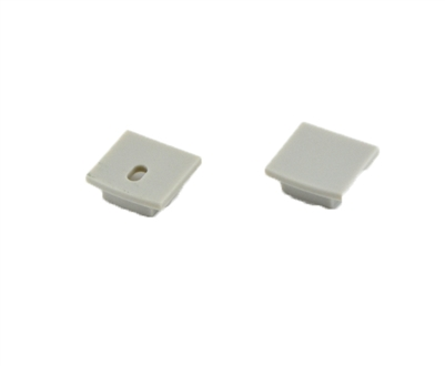 Extra pair of end caps for aluminum profile, housing, extrusion for LED Strips type O4. Includes one power-feed end-cap and one closed end-cap. Finished to match aluminum extrusion, housing finish finish.