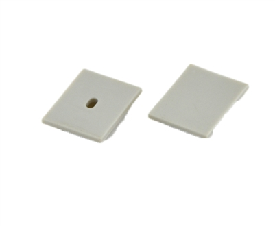 Extra pair of end caps for aluminum profile, housing, extrusion for LED Strips type P. Includes one power-feed end-cap and one closed end-cap. Finished to match aluminum extrusion, housing finish finish.