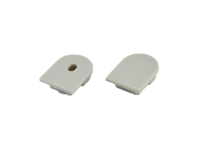 Extra pair of end caps for aluminum profile, housing, extrusion for LED Strips type P2. Includes one power-feed end-cap and one closed end-cap. Finished to match aluminum extrusion, housing finish finish.