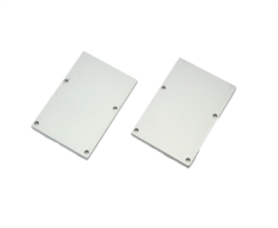 Extra pair of end caps for aluminum profile, housing, extrusion for LED Strips type P7. Includes one power-feed end-cap and one closed end-cap. Finished to match aluminum extrusion, housing finish finish.