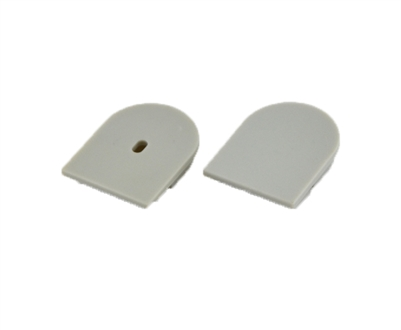 Extra pair of end caps for aluminum profile, housing, extrusion for LED Strips type R2. Includes one power-feed end-cap and one closed end-cap. Finished to match aluminum extrusion, housing finish finish.