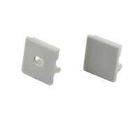 Extra pair of end caps for aluminum profile, housing, extrusion for LED Strips type S2. Includes one power-feed end-cap and one closed end-cap. Finished to match aluminum extrusion, housing finish finish.