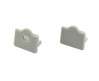 Extra pair of end caps for aluminum profile, housing, extrusion for LED Strips type S3. Includes one power-feed end-cap and one closed end-cap. Finished to match aluminum extrusion, housing finish finish.