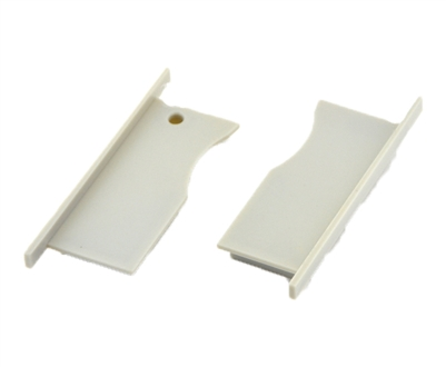 Extra pair of end caps for aluminum profile, housing, extrusion for LED Strips type S9. Includes one power-feed end-cap and one closed end-cap. Finished to match aluminum extrusion, housing finish finish.