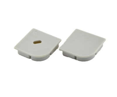 Extra pair of end caps for aluminum profile, housing, extrusion for LED Strips type T. Includes one power-feed end-cap and one closed end-cap. Finished to match aluminum extrusion, housing finish finish.