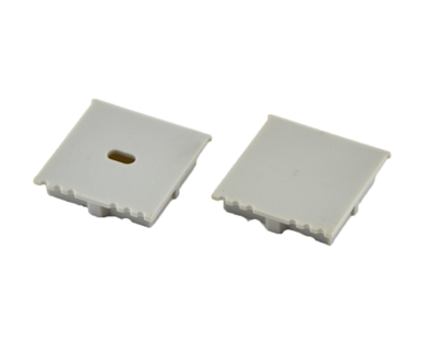 Extra pair of end caps for aluminum profile, housing, extrusion for LED Strips type V. Includes one power-feed end-cap and one closed end-cap. Finished to match aluminum extrusion, housing finish finish.